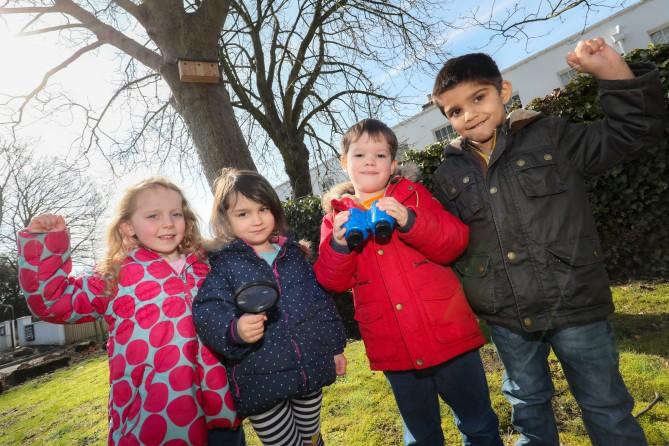 Left to right: Norfolk House nursery pupils Martha Bolle, Freya Koonar-Carroll, Harry Walmsley and Aariyan Jaswal