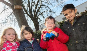 Left to right: Norfolk House nursery pupils Martha Bolle, Freya Koonar-Carroll, Harry Walmsley and Aariyan Jaswal