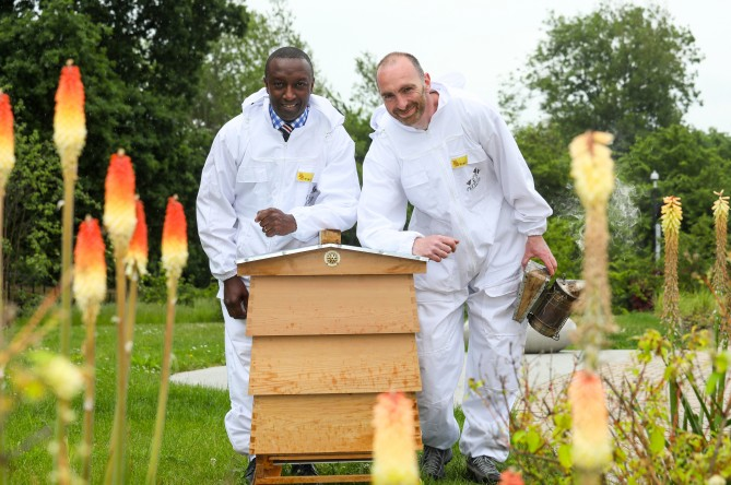 (L-R) Ralph Minott, Development Director for Calthorpe Estates and  John Beavan, Master Beekeeper for Nurture Landscapes